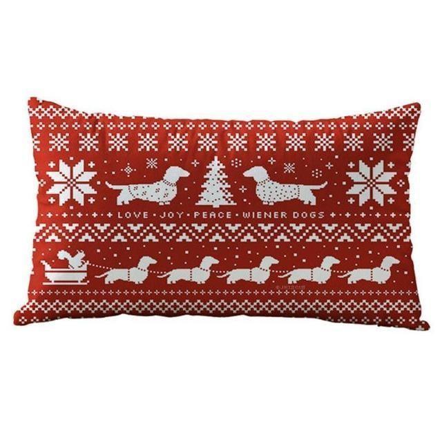 Christmas Rectangle Cotton Bolster Pillow Cover : Christmas Rectangle Cotton Bo : Christmas Rectangle Cotton Bolster
