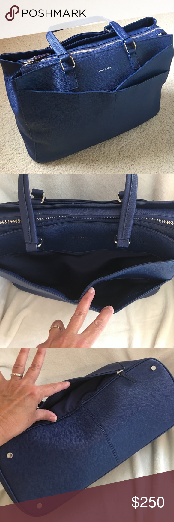 Nwot Cole Haan Large Blue Tote When American Airlines Merged With Us Air