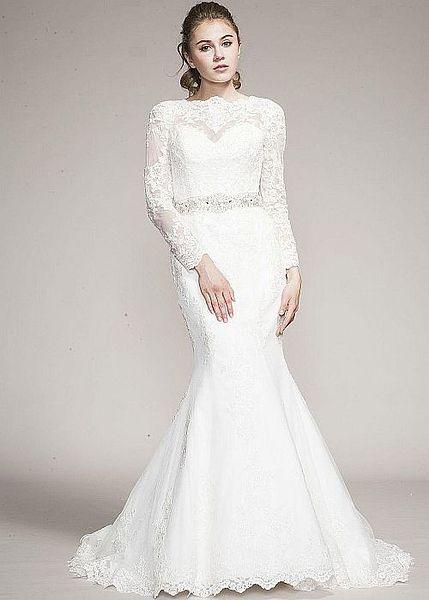 Clarinda Lace Wedding Dress Long Sleeve Tulle Fishtail High Neck