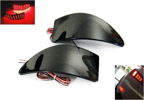 Black Smoked Lens LED Rear Bumper Reflector Brake Light 06