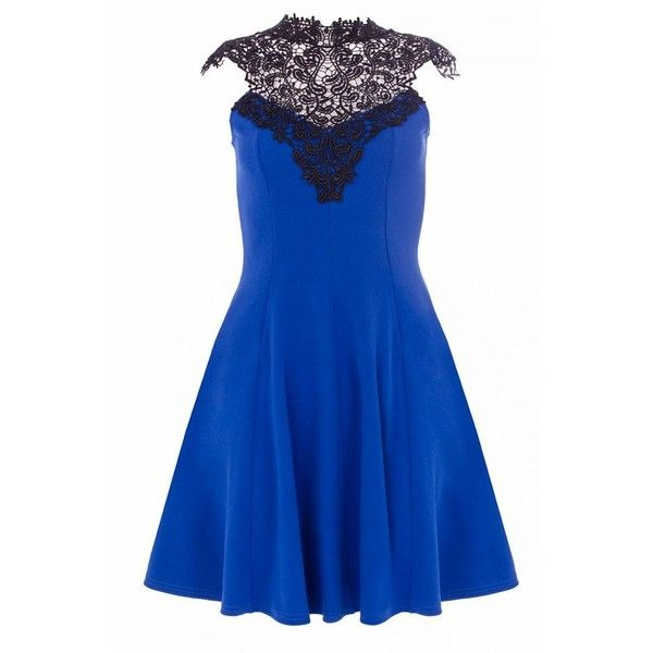 Royal Blue Lace Trim Skater Dress ($35) ❤ liked on Polyvore featuring dresses, skater dress, blue dress and blue skater dress