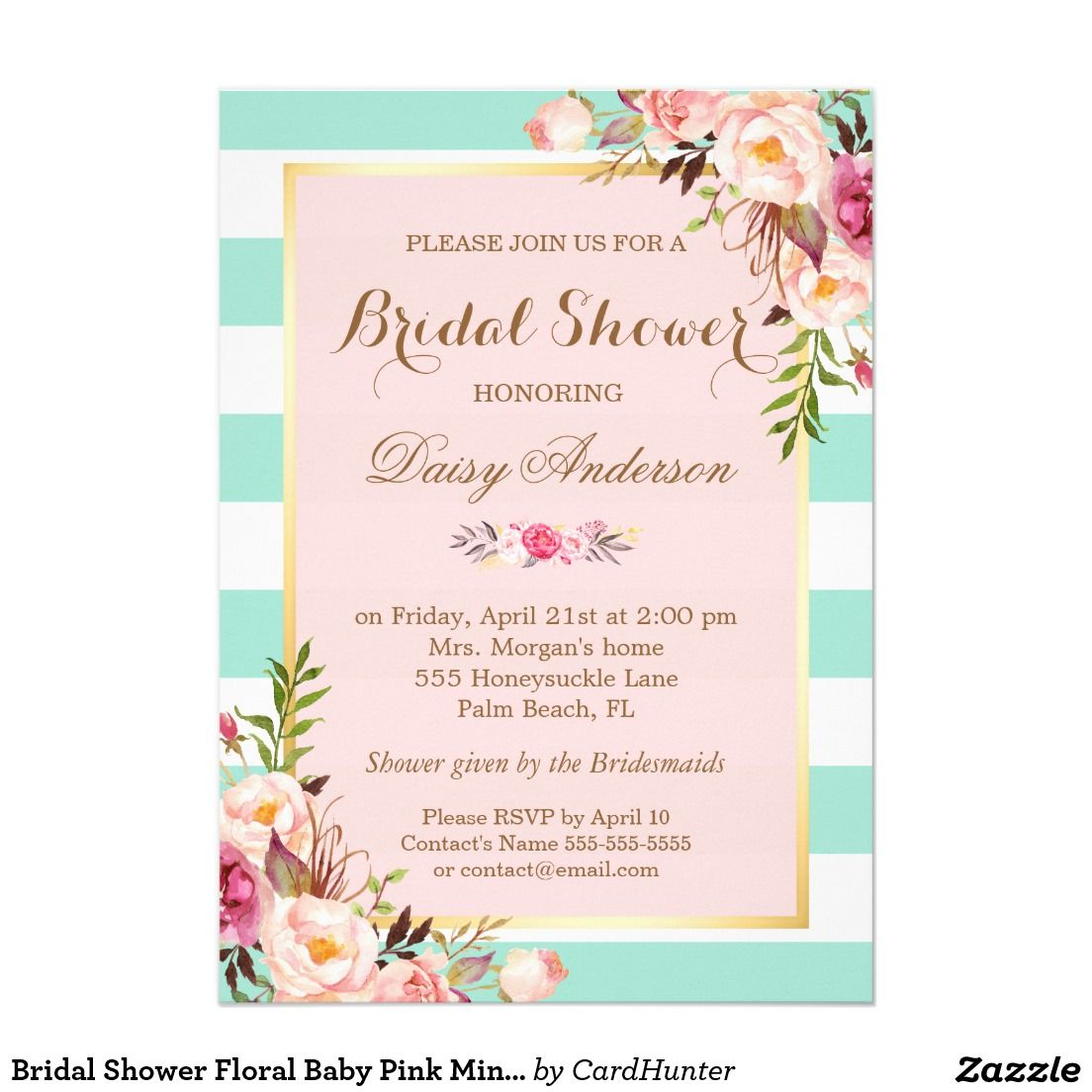Bridal Shower Floral Baby Pink Mint Green Stripes: Seaform Green And Purple Wedding Invitations At Reisefeber.org