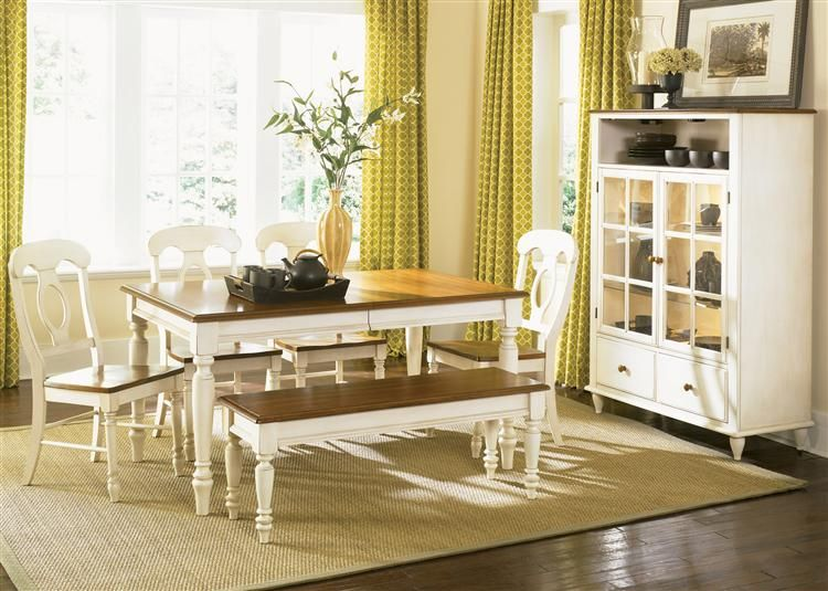 low country cottage style white wood dining room furniture set ...