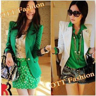 2014!!! De las mujeres fahion cuello solapa un botón blazer de primavera/otoño forro de punto del hombro chaqueta verde esterasdecoches #3027 blazer