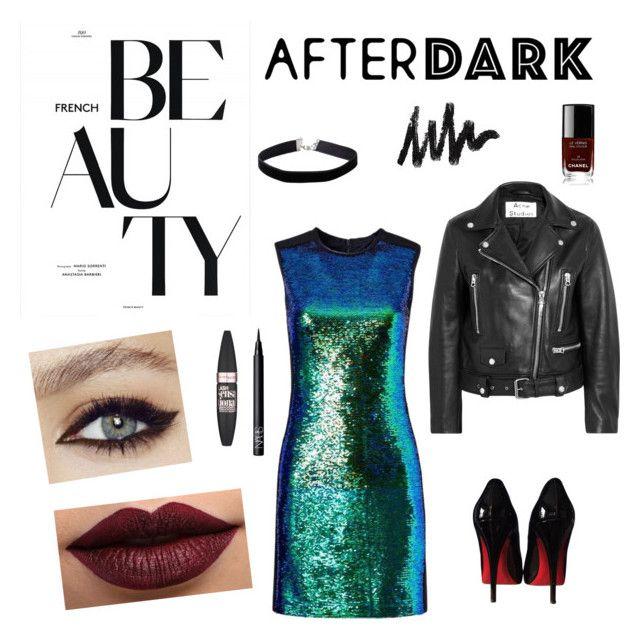 """Beauty After Dark // Chic & Wild 💜"" by carodubini ❤ liked on Polyvore featuring Acne Studios, Shoshanna, Christian Louboutin, NARS Cosmetics, LASplash, Miss Selfridge, Maybelline and Chanel"