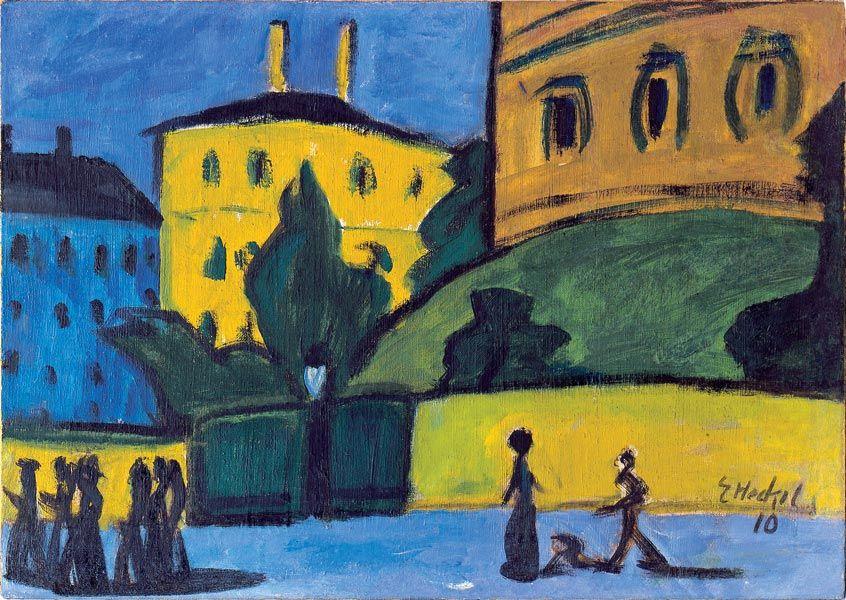 Erich Heckel (German, 1883-1970), Dresdner Vorstadt [Dresden suburb], 1910. Oil on canvas, 48.8 x 69 cm.