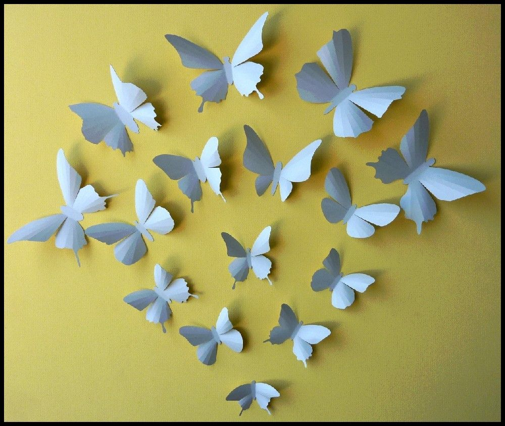 3D Wall Butterflies - 15 Soft Blue Butterfly Silhouettes, Nursery ...