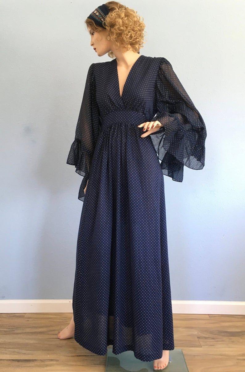 70s Angel Sleeve Boho Peasant Cottagecore Maxi Dress Small Etsy Maxi Dress With Sleeves Dresses Maxi Dress [ 1207 x 794 Pixel ]