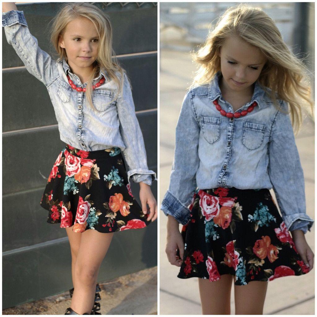 Tween Girl Fashion Black: Black Floral Skater Skirt