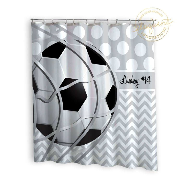 Soccer Shower Cutain Personalized Gray And White Boy Or Girl