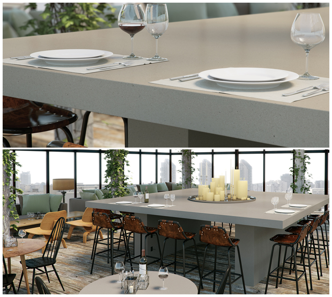 Dining Table Countertop Featuring Raw Concrete With The Ease - Concrete dining table maintenance