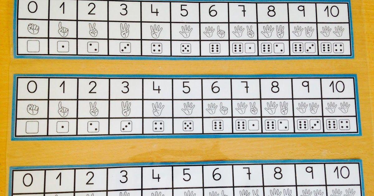 Infantil 3 años. Recta numérica con apoyo de dedos y dados