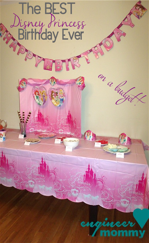 DIY Disney Princess Table Centerpiece using party supplies from Walmart!  Check out all my birthday decorating ideas- all within budget!