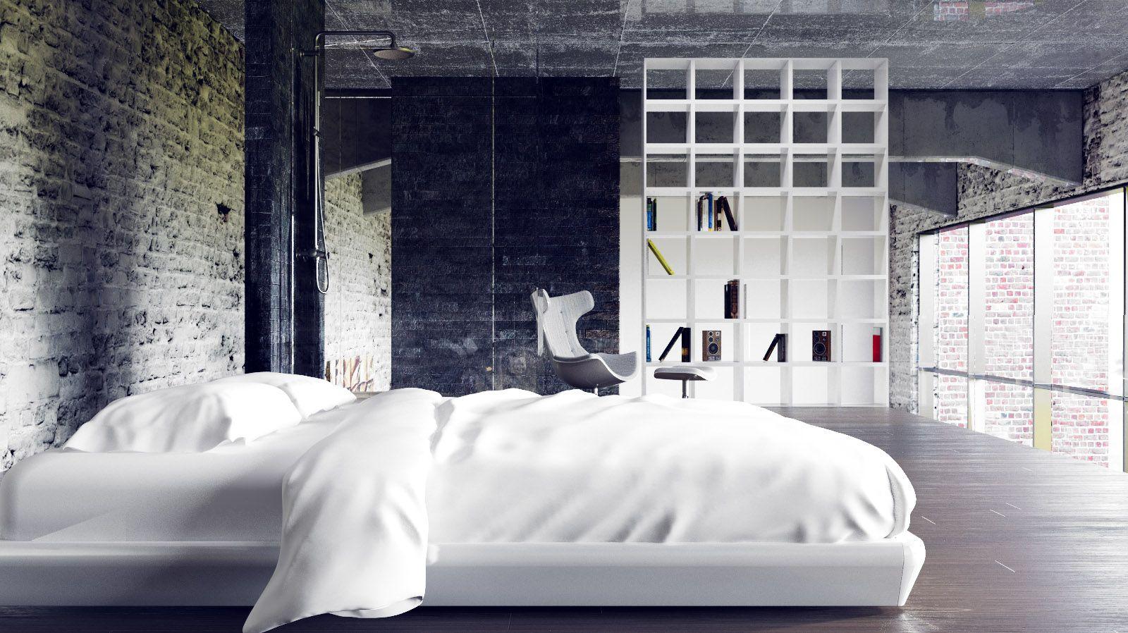 Urban loft bedroom  loft space was  by digital artist Juraj Talcik  Random rooms