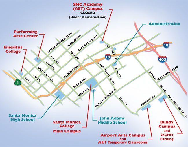 Bundy Campus Map.Smc Campuses Map Santa Monica College Pinterest Santa Monica