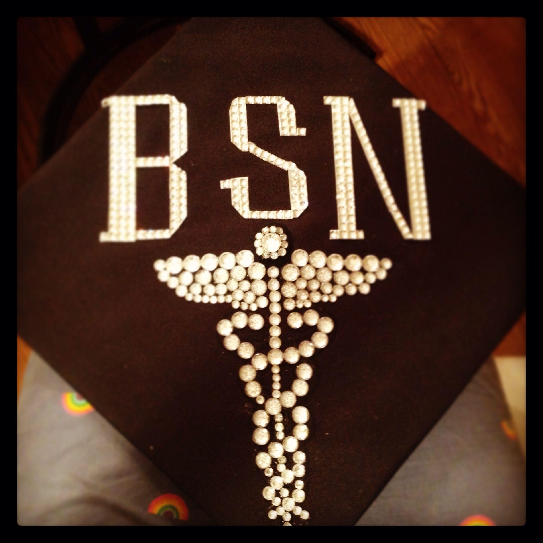 BSN Graduation Cap Decorated With Rhinestones