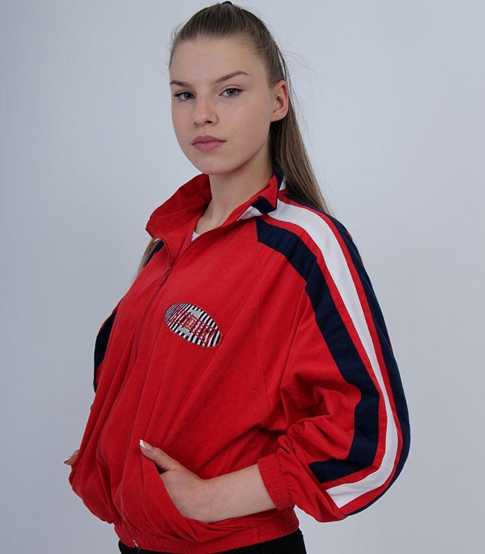 c116f4a7 Vintage red windbreaker sport wear girl track jacket white stripes full zip  urban street coat woman track suit urban hummel adidas original wear 1990s  style ...