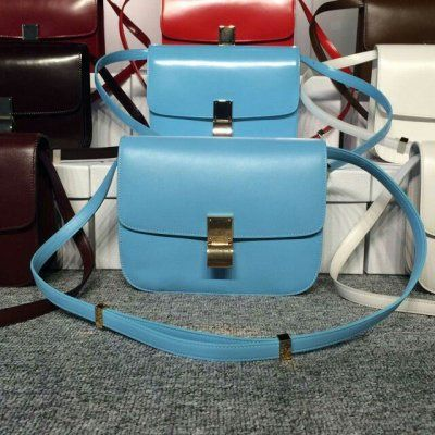 Free Shipping !Cheap 2015 Celine Bags Outlet-Celine Classic Bag in Sky Blue Smooth Calfskin Leather