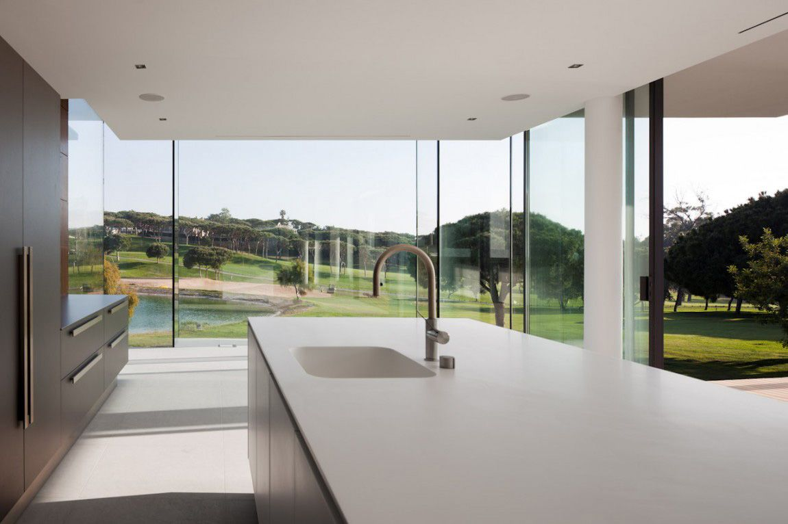 Kitchen Island Modern Home With A Unique Suspended Pool In Portugal