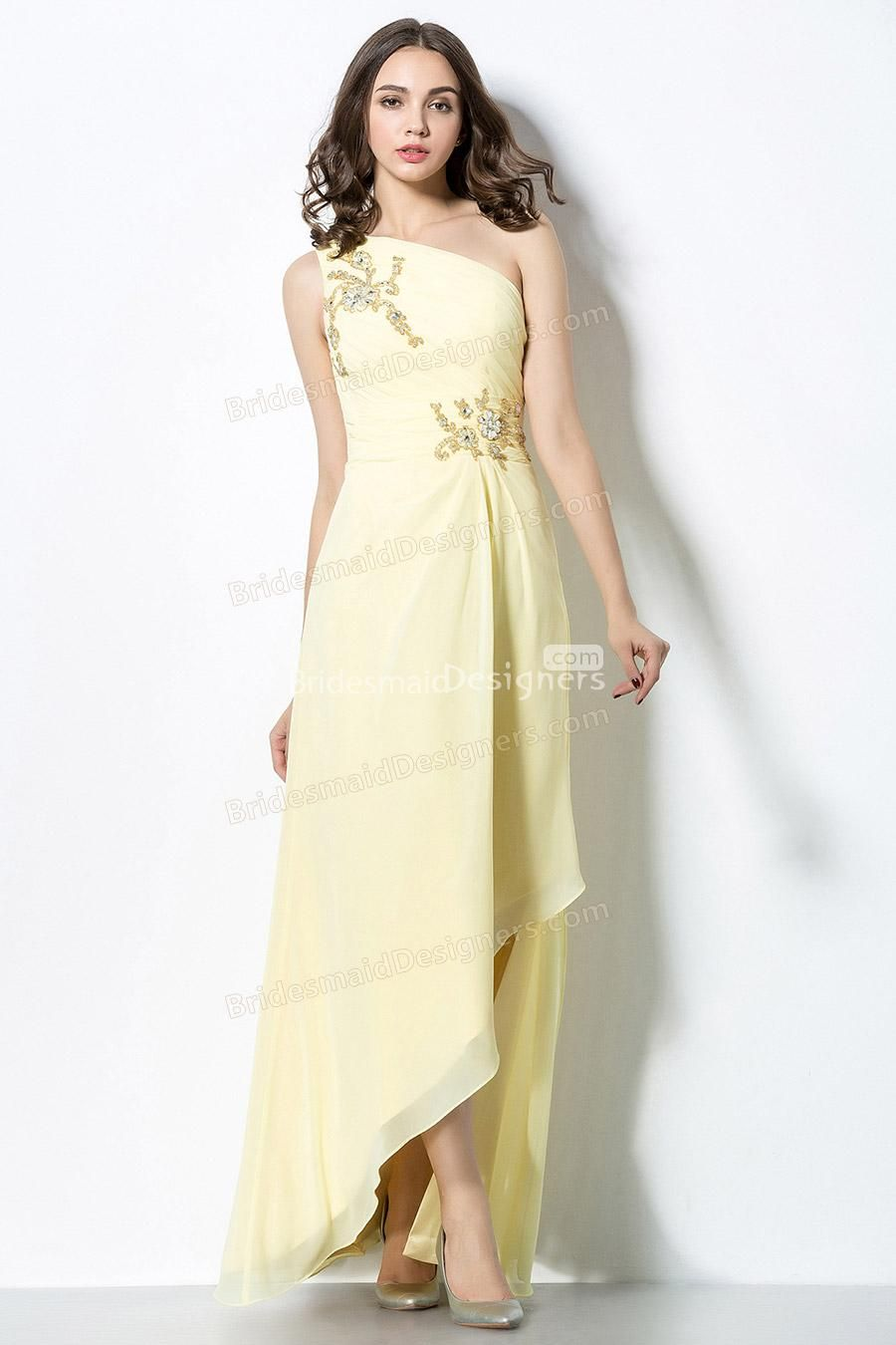 embroidered pale daffodil one shoulder sequined long chiffon bridesmaid dress