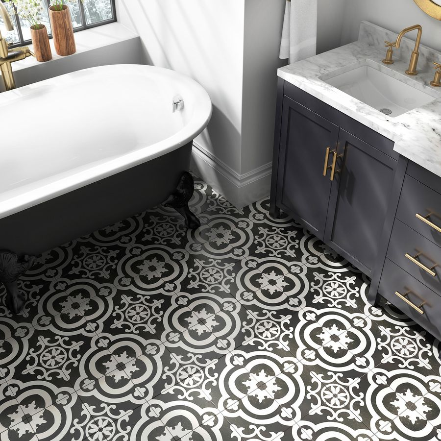 Della Torre Cementina Black And White 8 In X 8 In Glazed Ceramic Encaustic Tile Lowes Com Bathroom Floor Wallpaper Black Bathroom Bathroom Floor Tiles