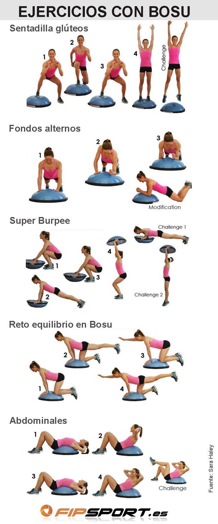 Ejercicios con bosu para tonificar fortalecer ganar for Ejercicios de gym