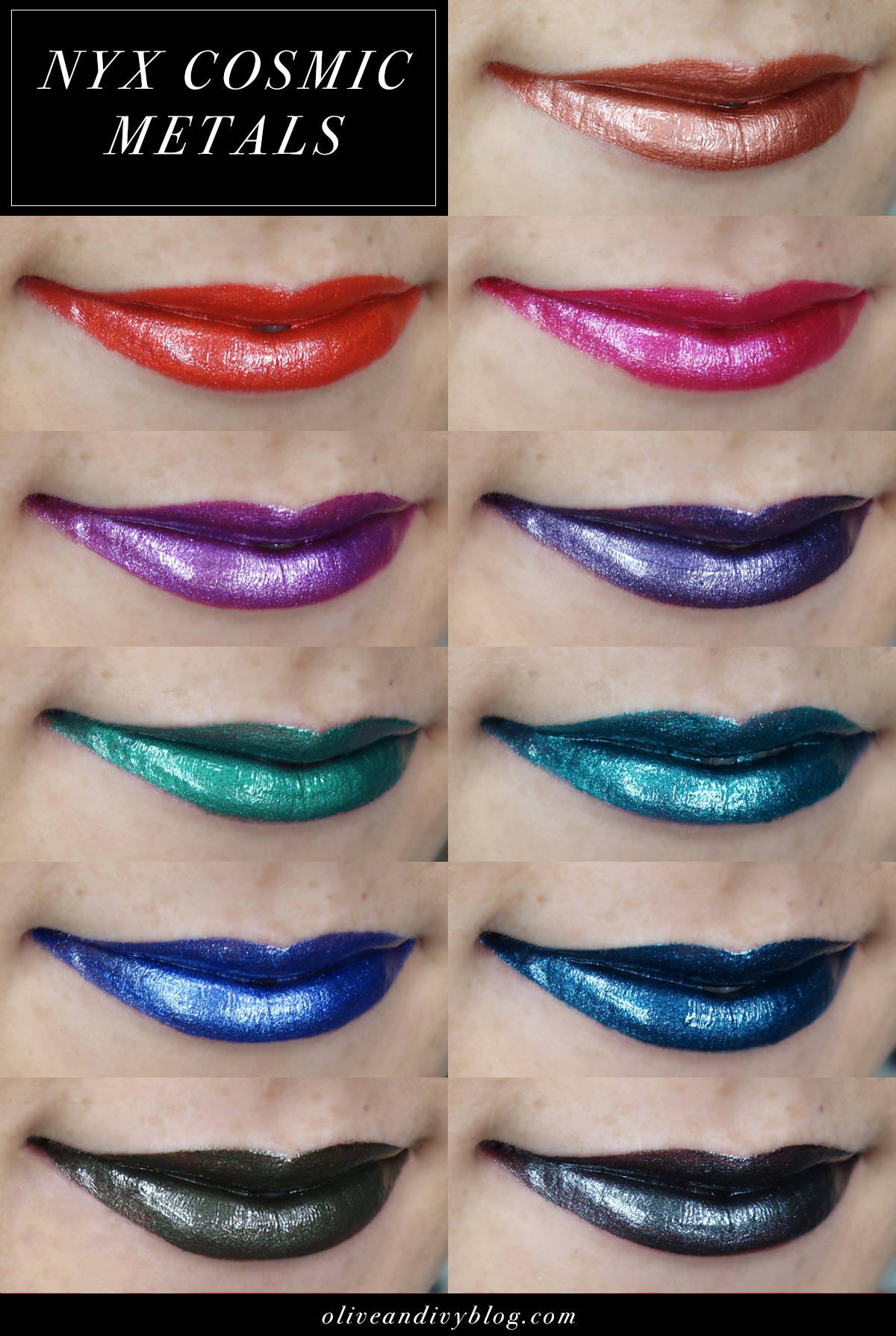 Nyx Cosmic Metal Lip Cream Swatches One Just May Be A Kymajesty Kylie Kit Dupe Oliveandivyblog