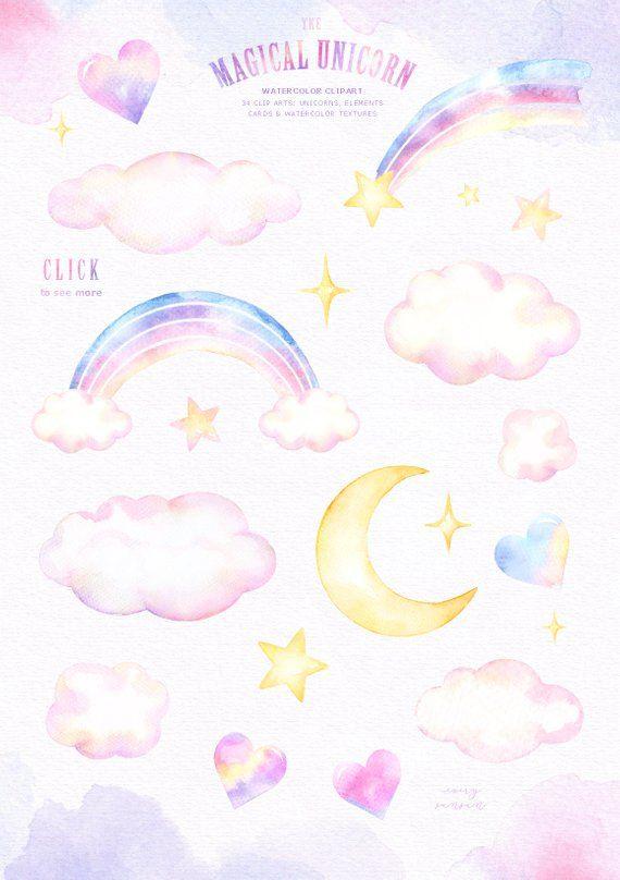 The Magical Unicorn Watercolor Set Rainbow Clipart Woodland   Etsy