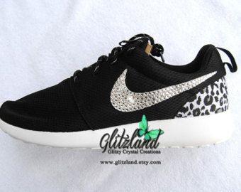 aa189e746f2c Swarovski Nike Girl  Woman Black   White Nike Roshe Run w Cheetah Print  Heel Blinged with SWAROVSKI® Crystals