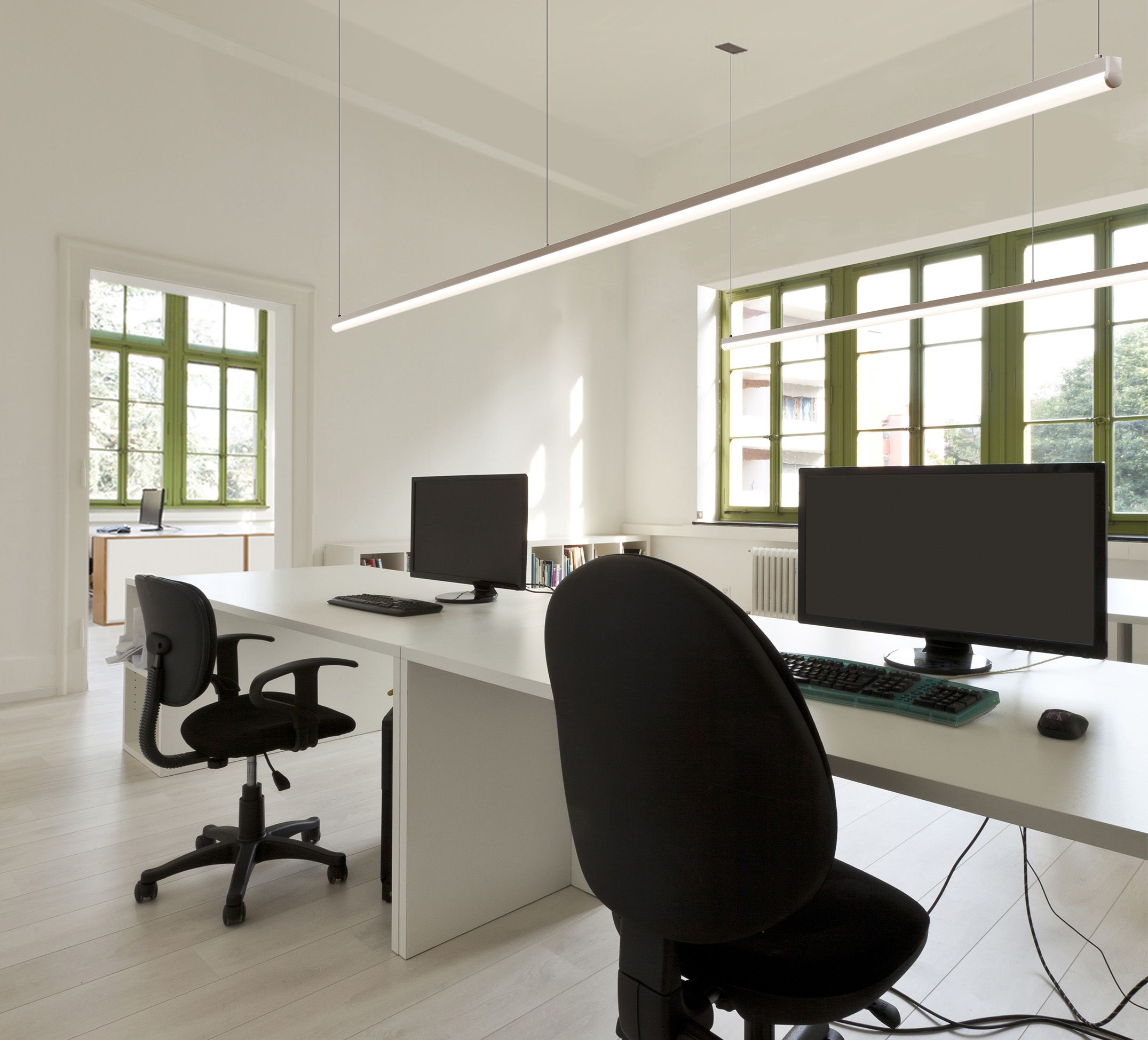 suspended office lighting. Tubular Cirrus Channel LED Suspension Light - By Edge Lighting Suspended Office