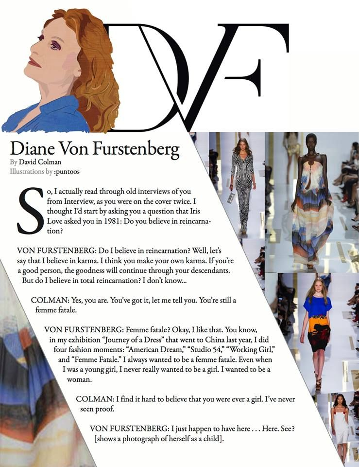 Interview illustrated by #:puntoos  #puntoosillustrations #DVF #dianevonfurstenberg #nyc #dvfss2014 #nyfw2014 #nyfw #trafficcreativemanagement #fashiondesigner