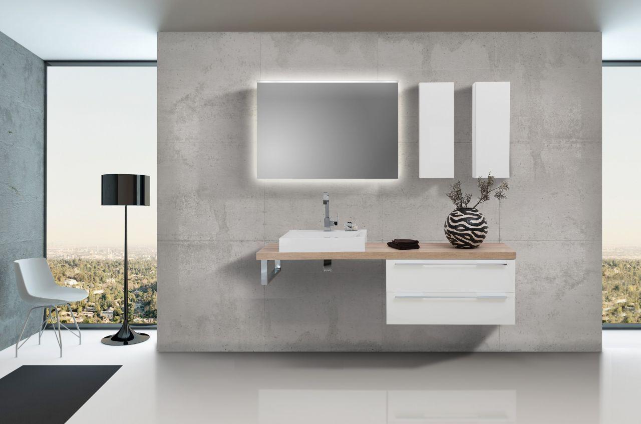 design badezimmer set weiß hochglanz mit led lichtspiegel jetzt, Badezimmer ideen