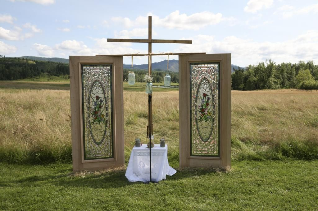 Stained glass and cross for the front of the ceremony