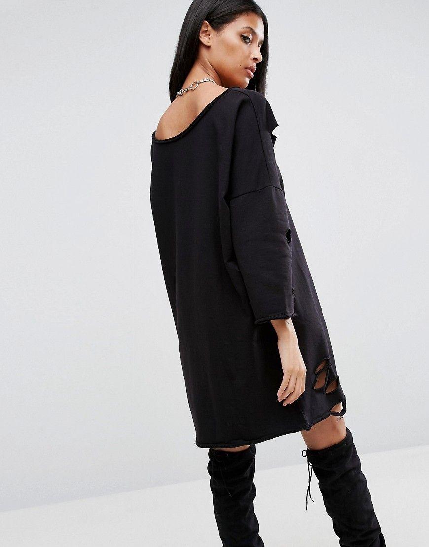 4efa27ab950 ASOS Off Shoulder Sweat Dress with Nibbles - Black