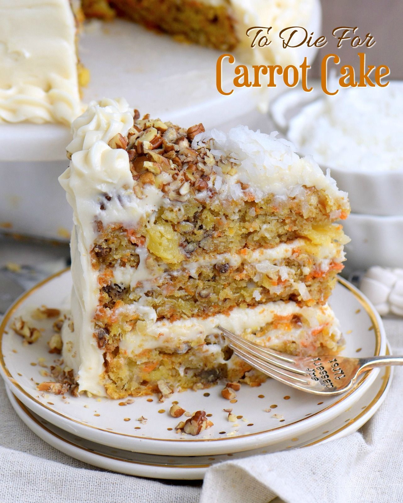 To Die For Carrot Cake receives rave reviews for it's unbelievable moistness and flavor! Truly the BEST CARROT CAKE you'll ever try! So easy to make and as an added bonus, there's no oil or butter! I know this cake will quickly become a family favorite! // Mom On Timeout