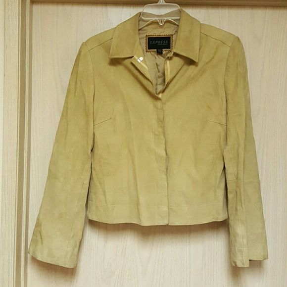 Express Suede Shirt Jacket Bell sleeves. Buttery soft. Some wear and a small hole on shoulder (3rd pic). Zippers on sides at waist. Lined.lal Express Jackets & Coats