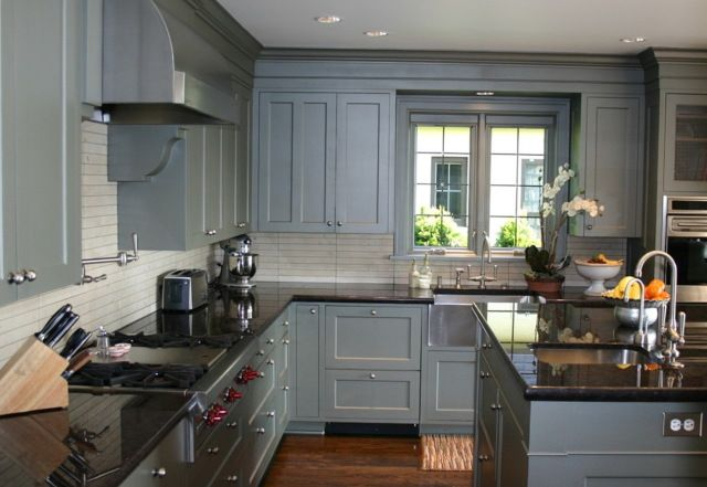 Grey Kitchen Cabinets With Black Countertops Grey Painted Kitchen Granite Countertops Kitchen Kitchen Cabinet Design