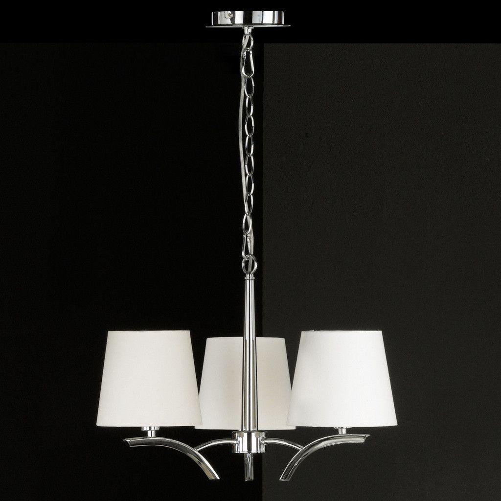 Stilvoller Design Kronleuchter Marie Mit Weißen Schirmen   Chrom #design  #licht #schirme #