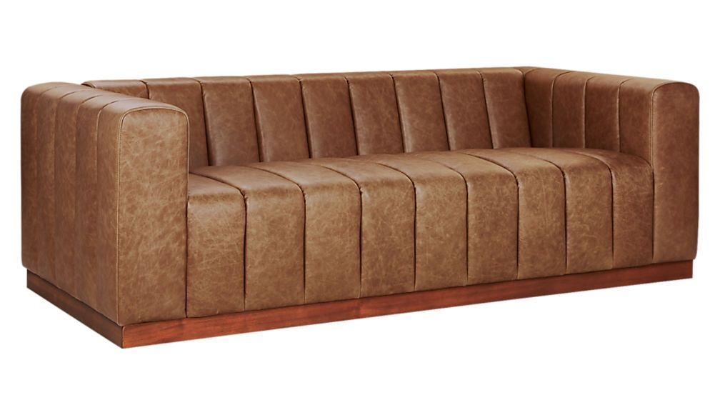 Forte Channeled Saddle Leather Sofa With Images Pink Leather