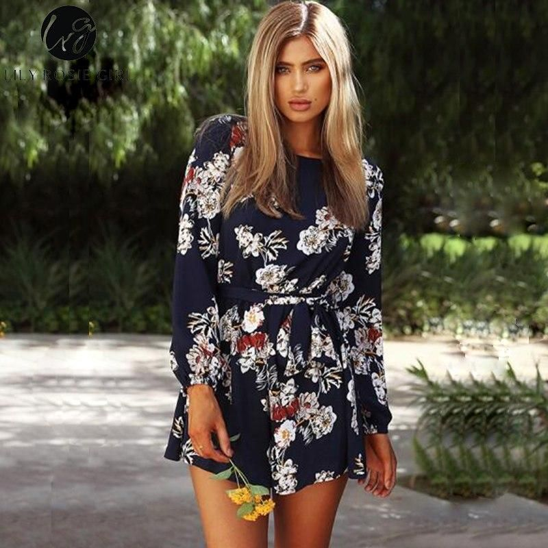 0c0d02ea96f Lily Rosie Girl Sexy Backless Boho Print Long Sleeve Women Playsuits F –  KOREAIDOLFEVER