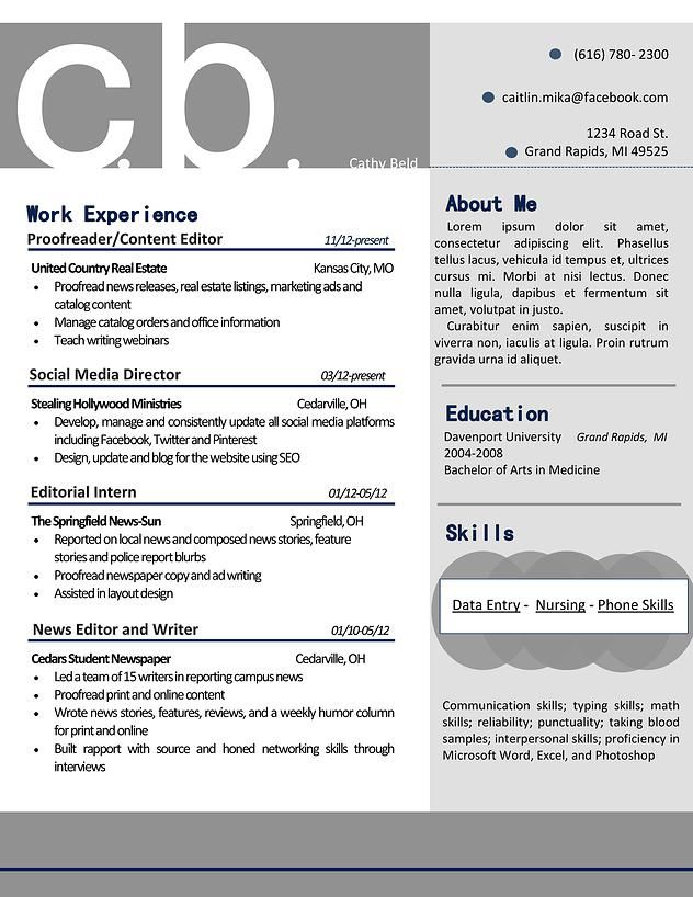 My resume design that is professional and bold- in gray and navy - sample event planner resume