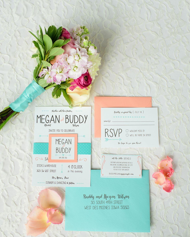 Coral And Mint Wedding Invitations: Wedding Invitations