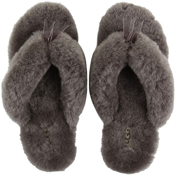 UGG® Women's Fluff Flip Flop - Grey ($89) ❤ liked on Polyvore featuring