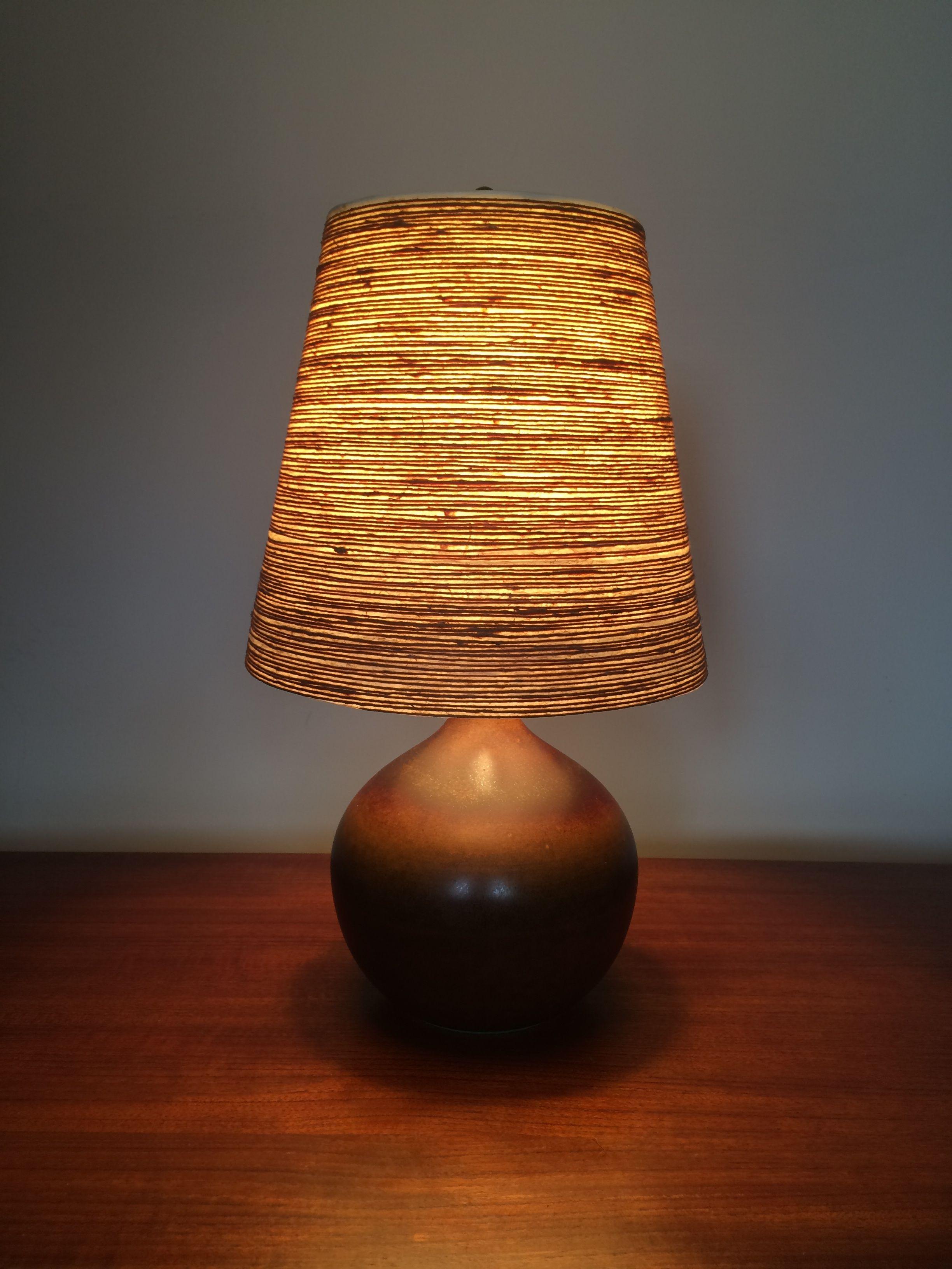 Gunner Lotte Bostlund Table Lamp Base Dark Brown W Original Fibergl Jute Shade
