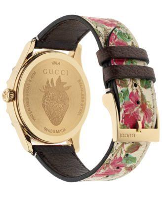 7f0b89ea193 Gucci Women s G-Timeless Beige Flower Print Leather Strap Watch 38mm