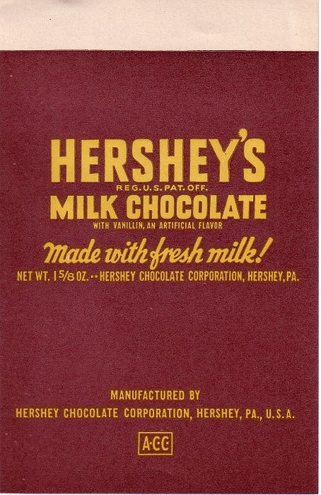 1960s Hershey Candy Wrapper MINIATURE - FOOD - CANDY Chocolate