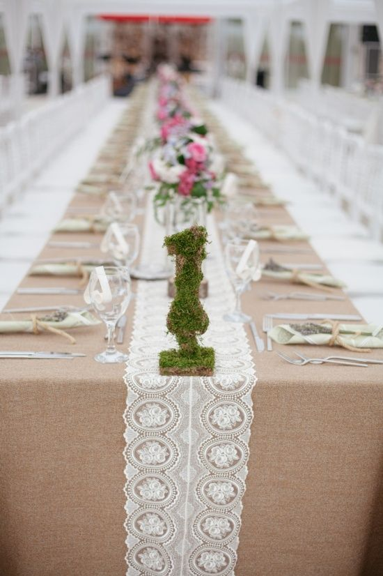 Rustic Wedding Table Decor With Lace   My Wedding Ideas