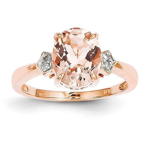 14k Rose Gold Diamond And Oval Morganite Ring Morganite ring Rose