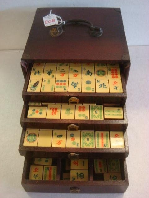 """Parker Brothers Mah-Jongg """"Newport"""" Set: Travel Size, Mahogany Finish Box w/Sliding Front & Brass Plate. 114 Teak Wood Tiles, French Ivory Faces & Betting Sticks, 5 Slide Out Drawers w/Brass Pulls. No Book, Disks, or Dice. Best Set Parker Bros Ever Made. (80-100)"""