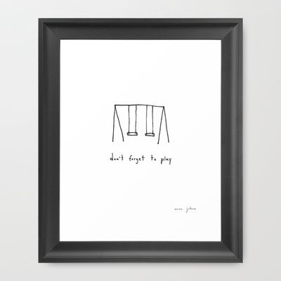 don't forget to play Framed Art Print by Marc Johns - $35.00